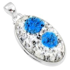 20.07cts natural k2 blue (azurite in quartz) 925 sterling silver pendant r66327