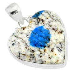 15.55cts natural k2 blue (azurite in quartz) 925 sterling silver pendant r86283