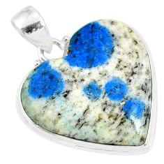 18.23cts natural k2 blue (azurite in quartz) 925 sterling silver pendant r86293