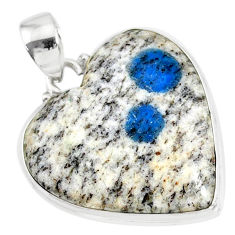 16.83cts natural k2 blue (azurite in quartz) 925 sterling silver pendant r86299