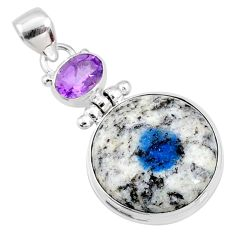 17.18cts natural k2 blue (azurite in quartz) amethyst 925 silver pendant r66283