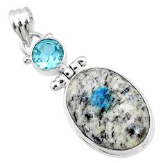 16.73cts natural k2 blue (azurite in quartz) oval topaz silver pendant r66284