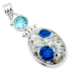 18.70cts natural k2 blue (azurite in quartz) oval topaz silver pendant r66291