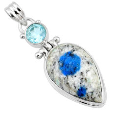 17.22cts natural k2 blue (azurite in quartz) topaz 925 silver pendant r66281