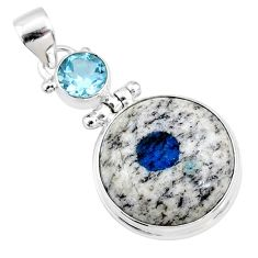 19.65cts natural k2 blue (azurite in quartz) topaz 925 silver pendant r66282