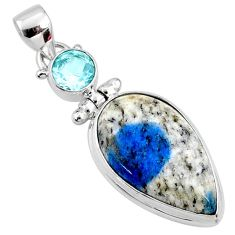 18.15cts natural k2 blue (azurite in quartz) topaz 925 silver pendant r66286