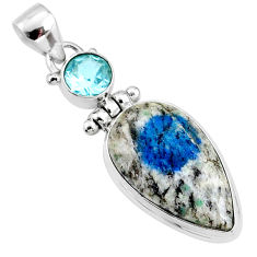 15.65cts natural k2 blue (azurite in quartz) topaz 925 silver pendant r66288