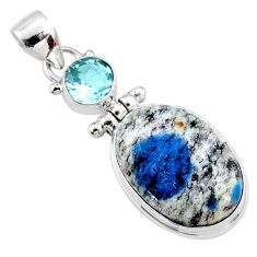 15.08cts natural k2 blue (azurite in quartz) topaz 925 silver pendant r66289