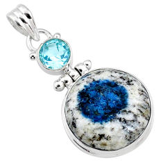 17.57cts natural k2 blue (azurite in quartz) topaz 925 silver pendant r66290