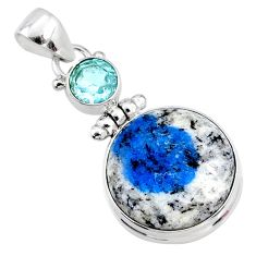 17.22cts natural k2 blue (azurite in quartz) topaz 925 silver pendant r66297