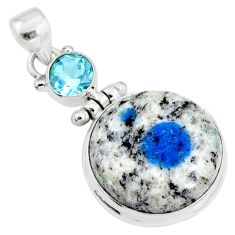 20.07cts natural k2 blue (azurite in quartz) topaz 925 silver pendant r66321