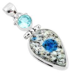 15.65cts natural k2 blue (azurite in quartz) topaz 925 silver pendant r66322