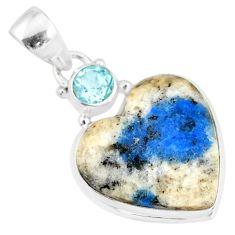 11.73cts natural k2 heart (azurite in quartz) topaz 925 silver pendant r86323