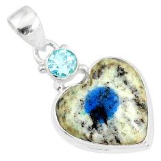 12.18cts natural k2 heart (azurite in quartz) topaz 925 silver pendant r86326