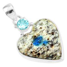13.70cts natural k2 heart (azurite in quartz) topaz 925 silver pendant r86328