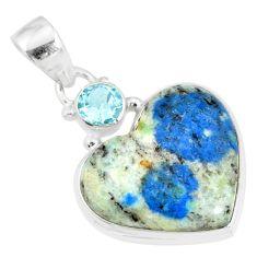 12.22cts natural k2 heart (azurite in quartz) topaz 925 silver pendant r86329