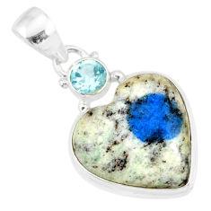 11.73cts natural k2 heart (azurite in quartz) topaz 925 silver pendant r86330