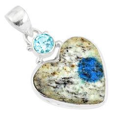12.22cts natural k2 heart (azurite in quartz) topaz 925 silver pendant r86331