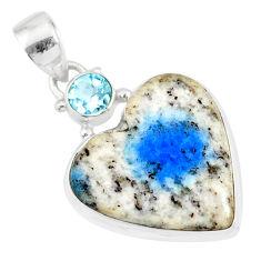13.15cts natural k2 heart (azurite in quartz) topaz 925 silver pendant r86332