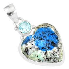 12.22cts natural k2 heart (azurite in quartz) topaz 925 silver pendant r86333