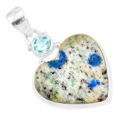13.70cts natural k2 heart (azurite in quartz) topaz 925 silver pendant r86334