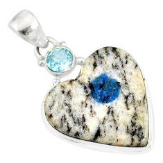 12.55cts natural k2 heart (azurite in quartz) topaz 925 silver pendant r86335