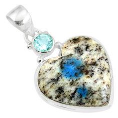13.67cts natural k2 heart (azurite in quartz) topaz 925 silver pendant r86338