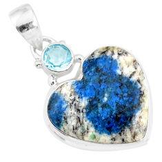 12.58cts natural k2 heart (azurite in quartz) topaz 925 silver pendant r86339
