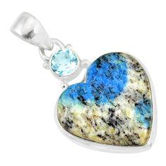 13.15cts natural k2 heart (azurite in quartz) topaz 925 silver pendant r86340