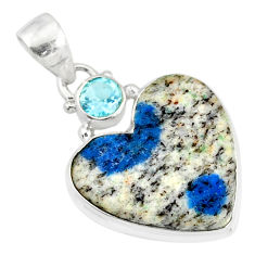 12.58cts natural k2 heart azurite in quartz) topaz 925 silver pendant r86324