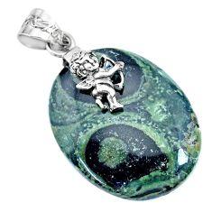 32.06cts natural kambaba jasper (stromatolites) 925 silver angel pendant r74430