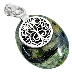 20.10cts natural kambaba jasper (stromatolites) 925 silver pendant r90822