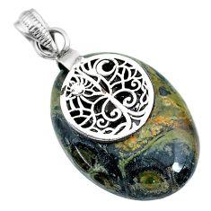 20.65cts natural kambaba jasper (stromatolites) 925 silver pendant r90823