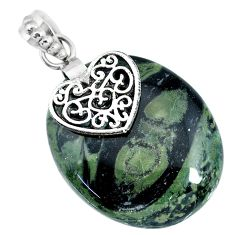 33.11cts natural kambaba jasper (stromatolites) silver heart pendant r90826