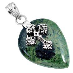 19.64cts natural kambaba jasper (stromatolites) silver holy cross pendant r90824