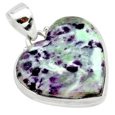 18.60cts heart kammererite 925 sterling silver pendant jewelry t23045