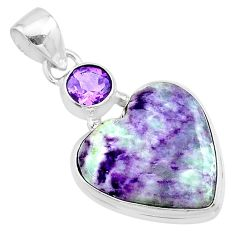 14.52cts heart kammererite amethyst 925 sterling silver pendant jewelry t23062