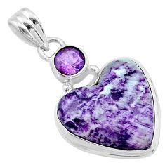 14.68cts heart kammererite amethyst 925 sterling silver pendant jewelry t23063