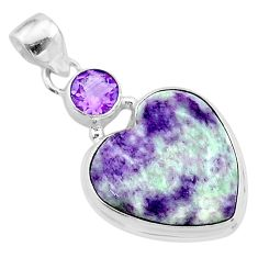 17.07cts heart kammererite amethyst 925 sterling silver pendant jewelry t23070