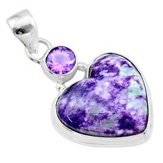 15.65cts heart kammererite amethyst 925 sterling silver pendant jewelry t23074