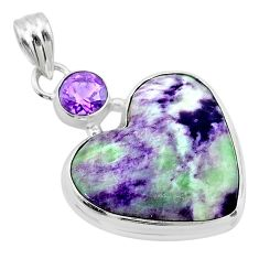 17.65cts heart kammererite amethyst 925 sterling silver pendant jewelry t23076