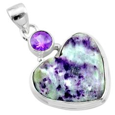16.20cts heart kammererite amethyst 925 sterling silver pendant jewelry t23079
