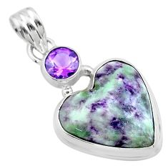 14.65cts heart kammererite amethyst 925 sterling silver pendant jewelry t23080