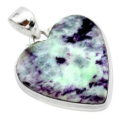 19.60cts heart kammererite heart 925 sterling silver pendant jewelry t23046
