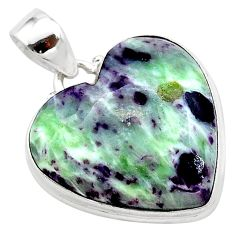 20.15cts heart kammererite heart 925 sterling silver pendant jewelry t23059