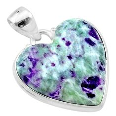 17.65cts heart kammererite heart 925 sterling silver pendant jewelry t23073