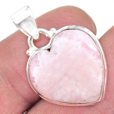 13.73cts natural lace agate 925 sterling silver heart pendant jewelry t13209
