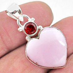 13.70cts natural lace agate garnet 925 sterling silver heart pendant t13202
