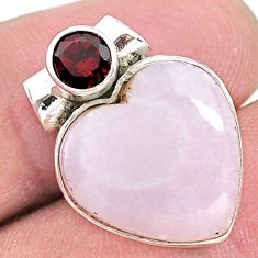 12.22cts natural lace agate garnet 925 sterling silver heart pendant t13203