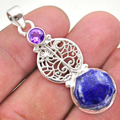 7.12cts natural lapis lazuli amethyst 925 silver tree of life pendant t46412